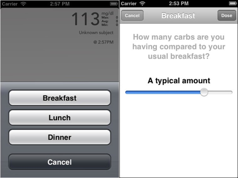 Bionic pancreas study participants used a smartphone app to indicate the meal they are about to consume and whether or not it contains a typical amount of carbohydrates.