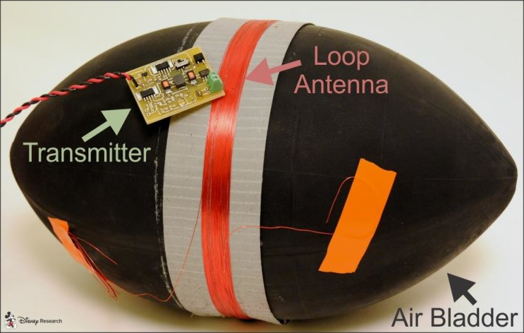 The modified ball with its outer skin removed.