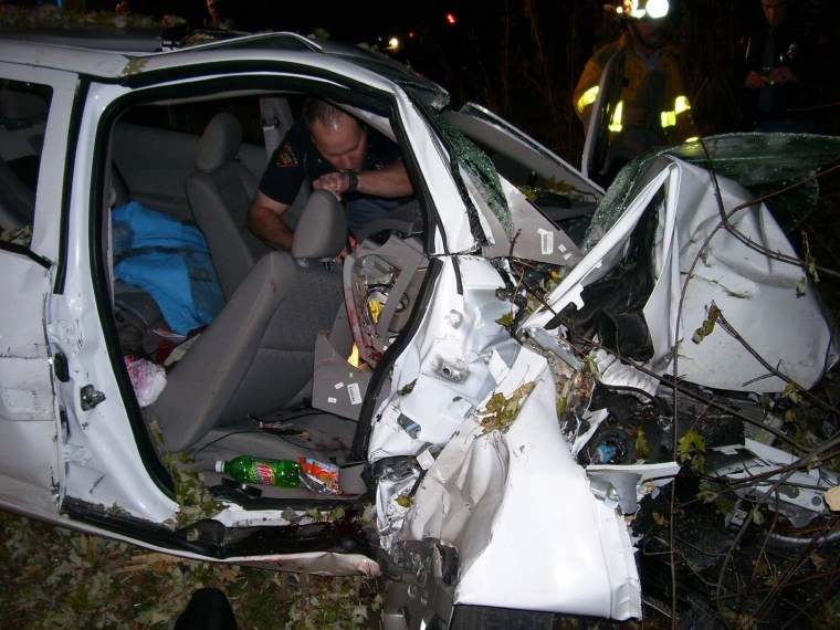 Image: The wrecked GM vehicle that Natasha Weigel was riding in.