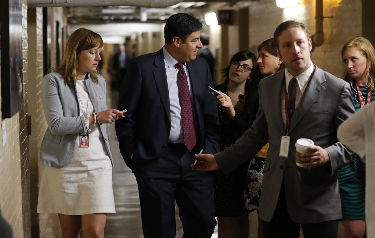 Image: U.S. Rep. Labrador talks to reporters at the U.S. Capitol building in Washington