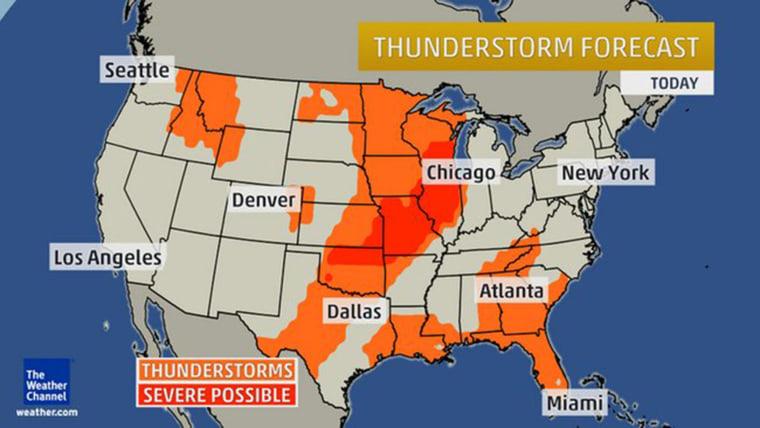 Image: Thunderstorm forecast for June 15