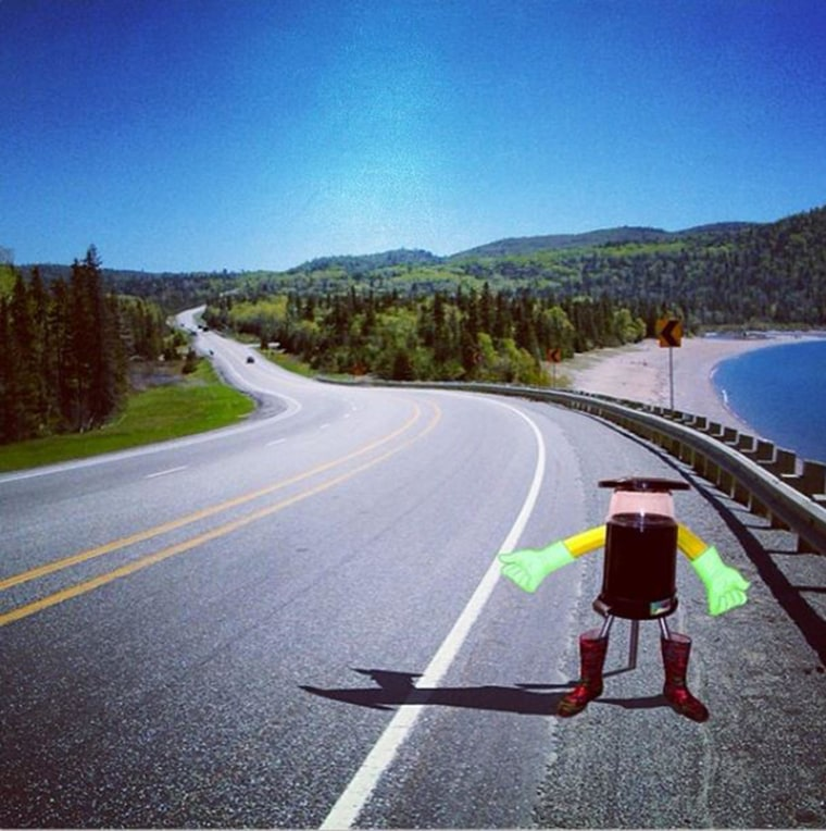 Image: Artist's conception of hitchBOT, the hitchhiking robot