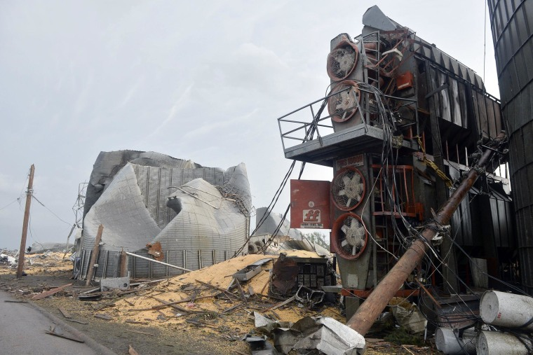 Image: Structures in Pilger, Neb. are heavily damaged after tornadoes moved through the area on June 16.