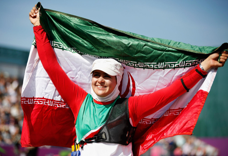 Image: Zahra Nemati of the Islamic Republic of Iran celebrates winning a gold medal at the London 2012 Paralympic Games