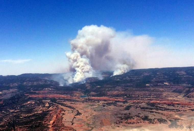 Image: A plume of smoke in the Chuska Mountains near Naschitti, N.M. on June 15