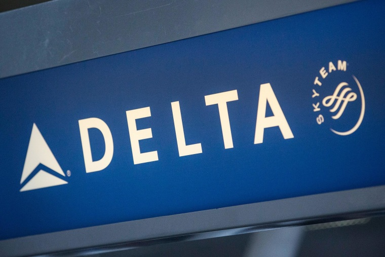 The Delta logo is seen at Kennedy Airport in the Queens borough of New York City.