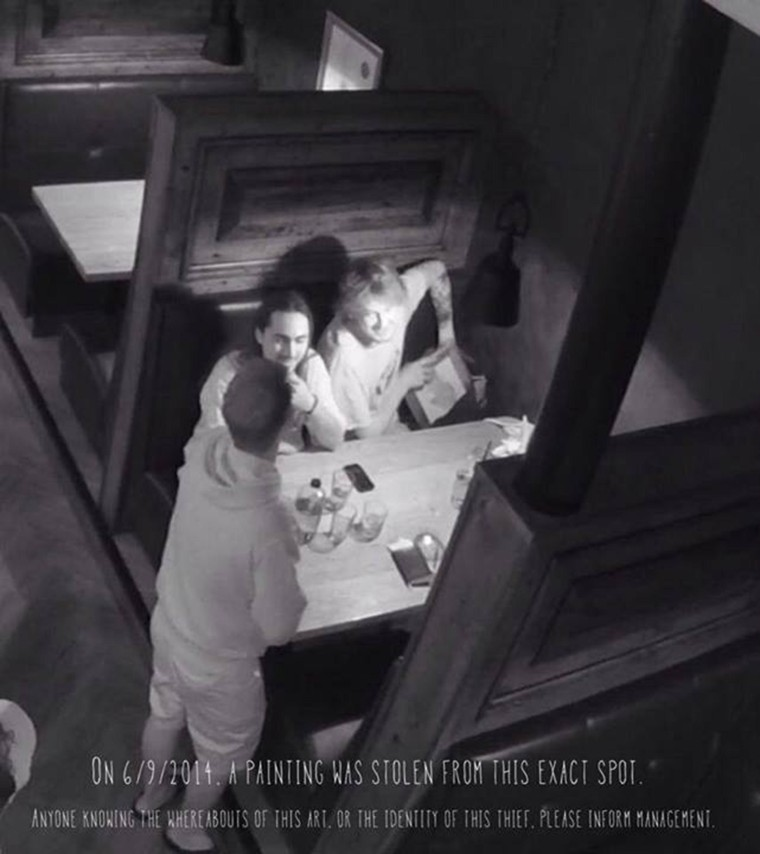 Image: Surveillance footage showing a suspected art thief at The McMillian restaurant in Arizona