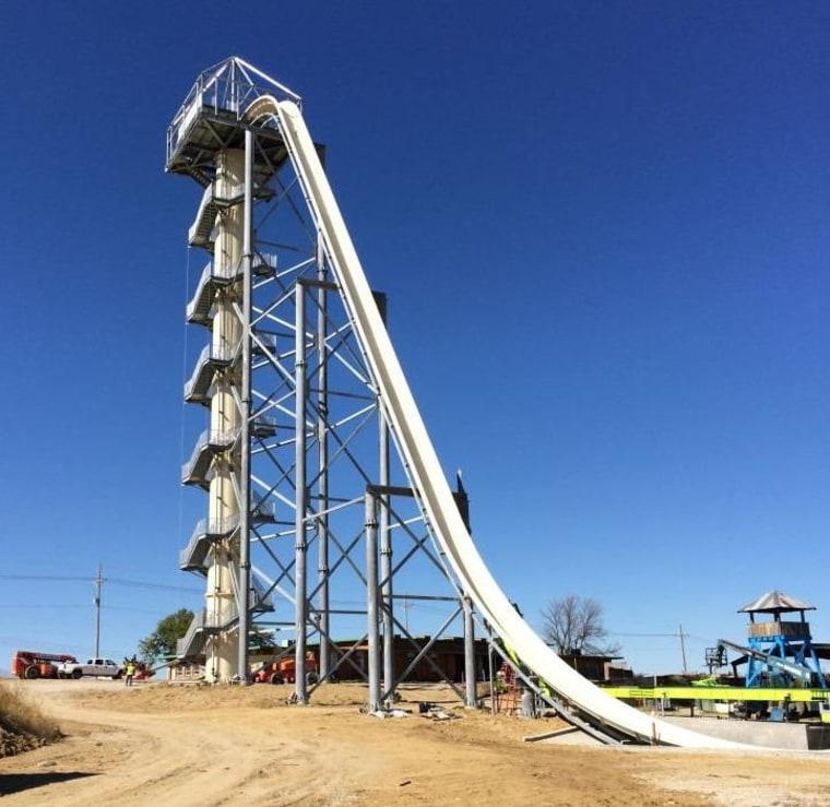 Verrückt, which takes its name from the German word for insane, is 17 stories tall and sends riders on a 65-mph descent that includes a water-powered blast up and over a second, 50-foot hill.