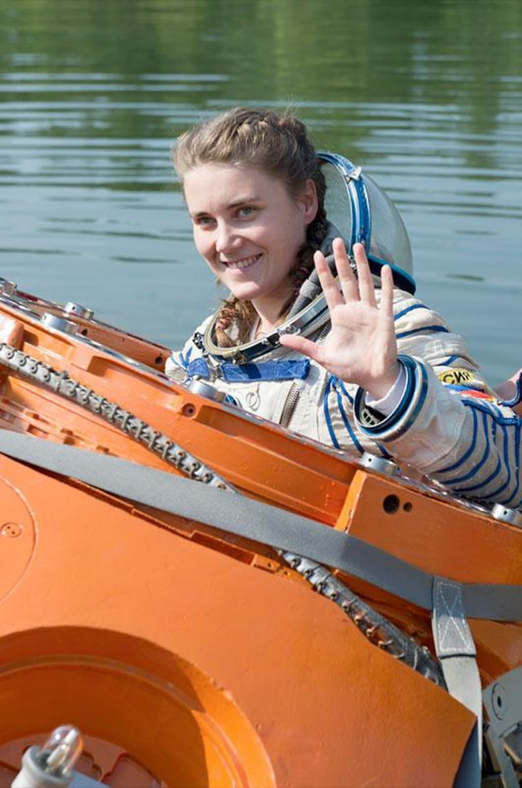 Anna Kikina is seen taking part in water survival training as one of the eight cosmonaut candidates selected in 2012. In June 2014, Kikina was not among the group's six members to advance to spaceflight training.