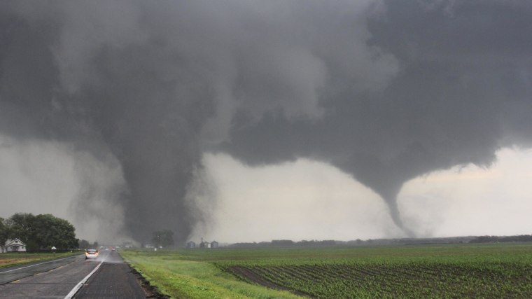 Image: Two tornadoes touch down near Pilger, Neb., on June 16.