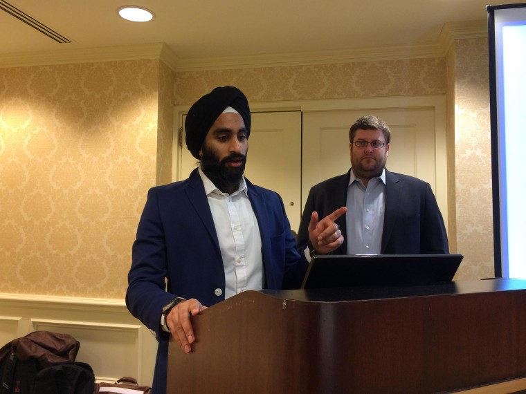 Gurwin Ahuja, executive director for the National Sikh Campaign, spoke at its launch party on March 1.
