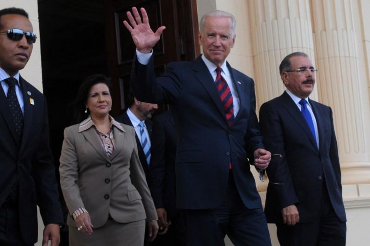 Image: Joe Biden, Danilo Medina, Margarita Cedeno