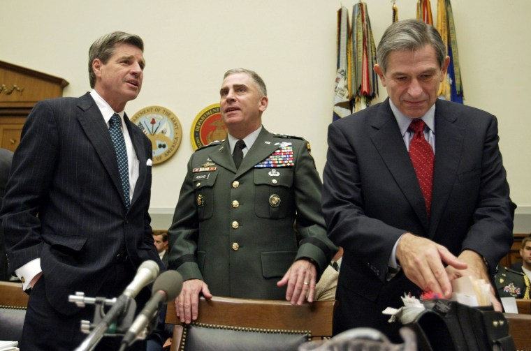 BREMER, GEN. ABIZAID AND WOLFOWITZ PREPARE TO TESTIFY BEFORE HOUSECOMMITTEE.