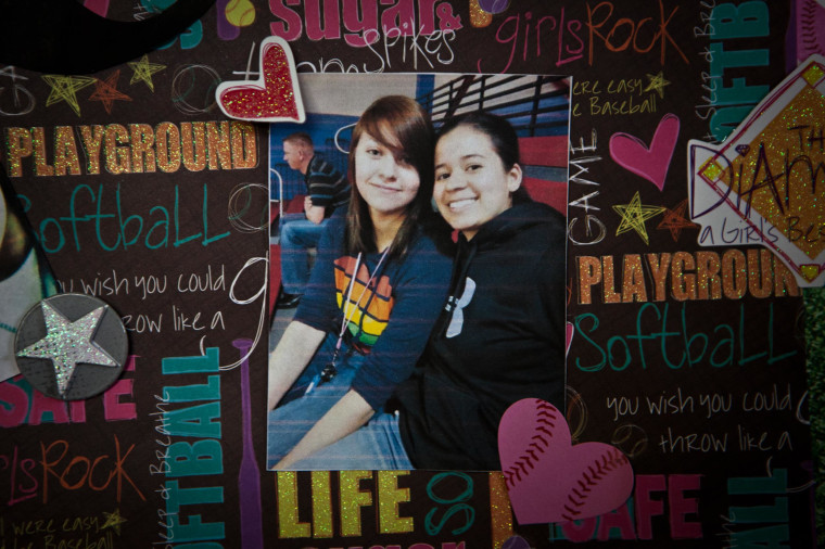 A poster depicting Kristene Chapa and her girlfriend Mollie Judith Olgin, at the Chapa residence on June 11, 2013 in Corpus Christi, TX.
