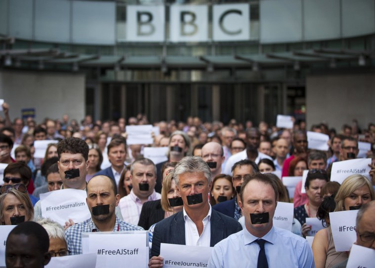 Image: Protests Against The Jailed Al-Jazeera Journalists