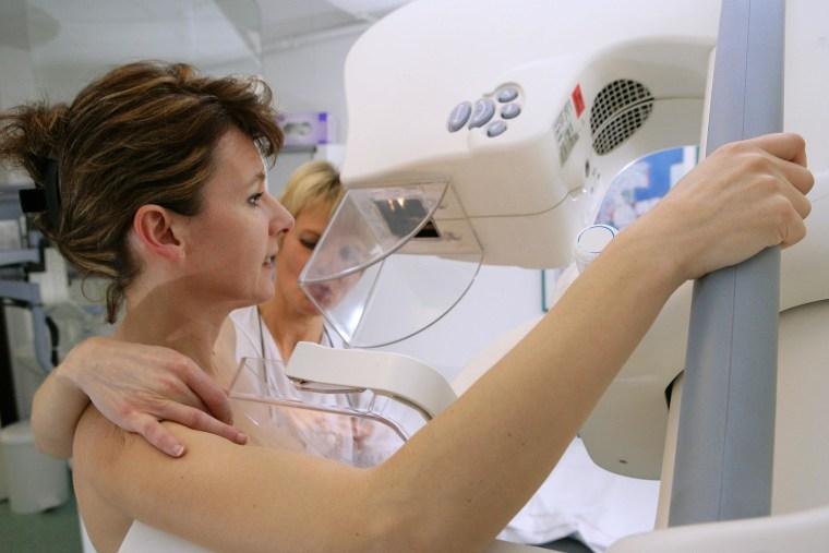 Image: Mammography examination at Rouen university hospital, France.