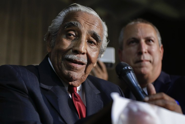 Image: Rep. Charlie Rangel D-NY, speaks at his primary election night gathering