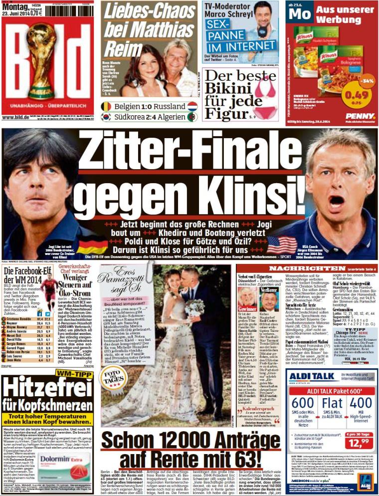 "Image: Germany's Bild newspaper featured the headline ""Tremble Final Against Klinsi!"""