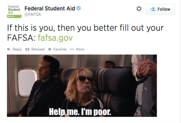 A screenshot of the FAFSA tweet that has since been deleted.