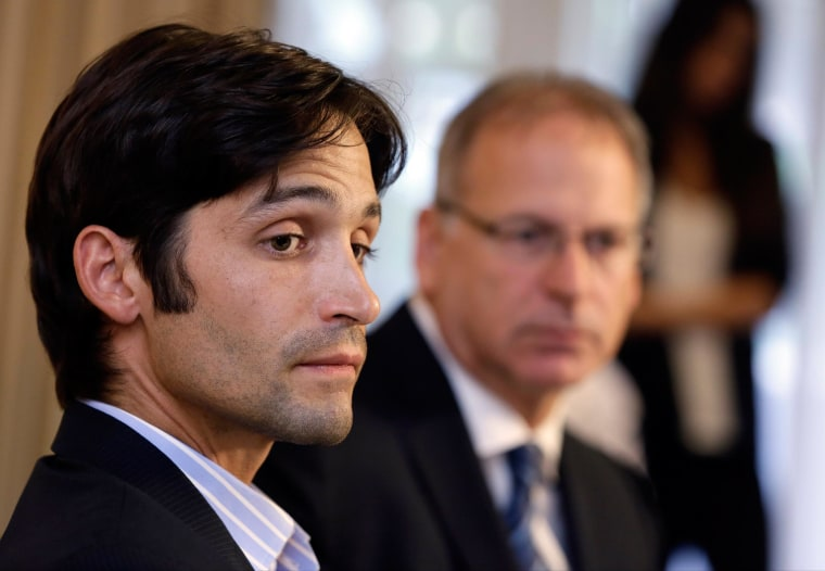 """Plaintiff Michael Egan, left, with former attorney, Jeff Herman, in April. The former aspiring actor Wednesday dropped his explosive sex-abuse lawsuit against """"X-Men"""" director Bryan Singer."""