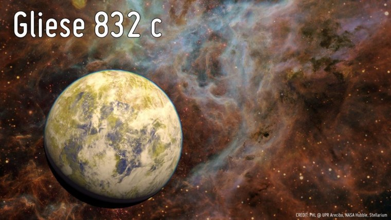 Image: Artist's conception of potentially habitable Super-Earth Gliese 832 c