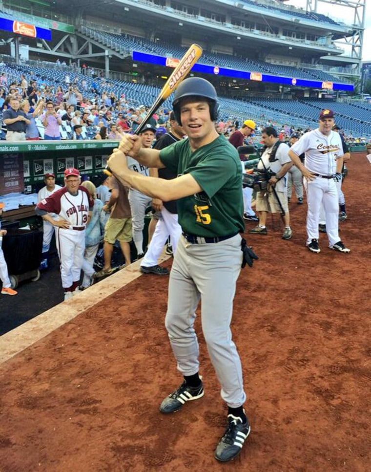 Image: Rep. Eric Swalwell at the Congressional Baseball Game for charity