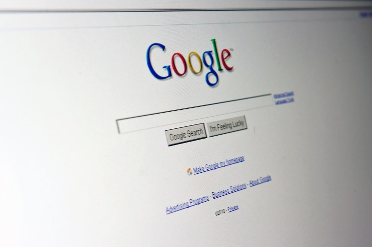 Image: The Google search page appears on a computer screen in Washington on Aug. 30, 2010.