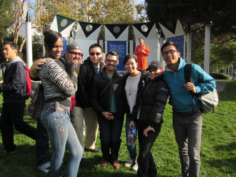 John Guigayoma (far right) and co-workers in 2012. Photo taken in Yerba Buena Gardens, downtown SF.
