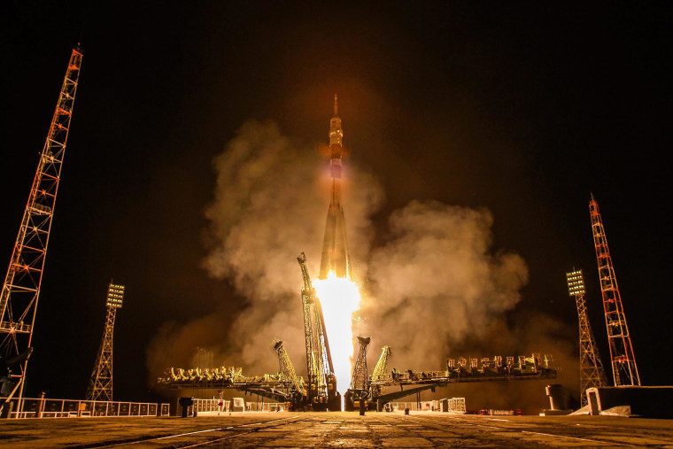 Image: The Soyuz TMA-13M rocket is launched from the Cosmodrome Baikonur in Kazakhstan, in the early hours of May 29.