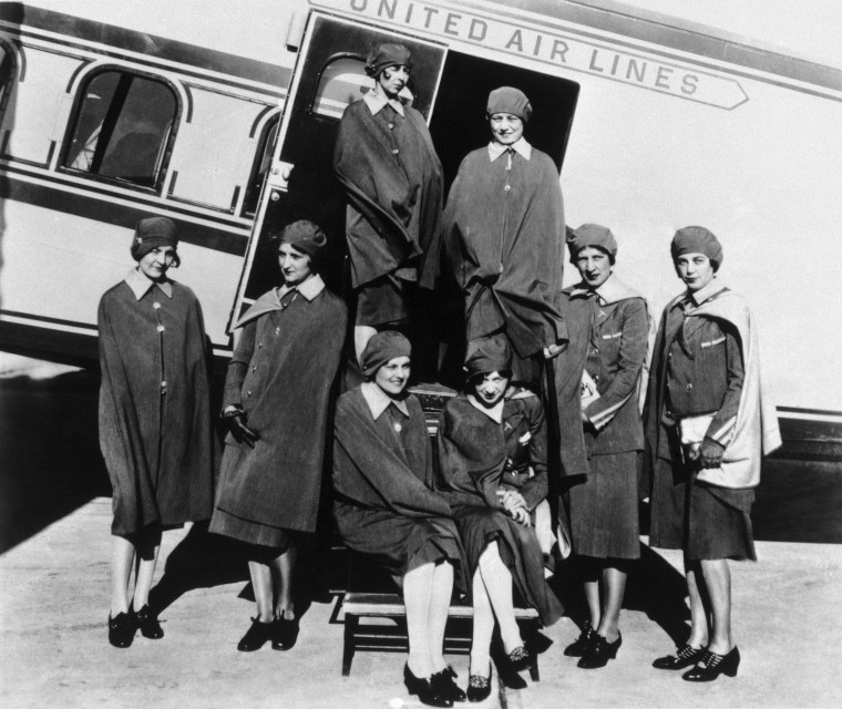 Image: Original eight stewardesses with Model 80A.