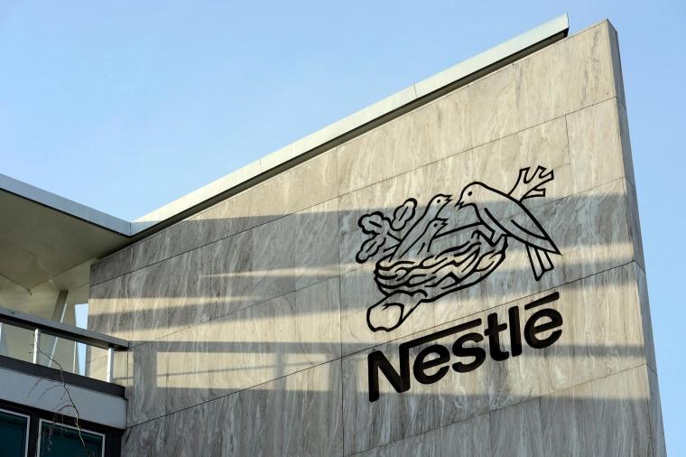 Image: The Nestle logo is  photographed  at the Nestle headquarter  in Vevey, Switzerland