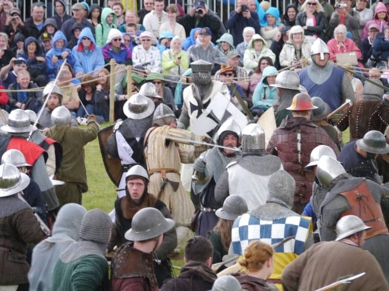 Image: Actors re-enact the Battle of Bannockburn on Saturday.