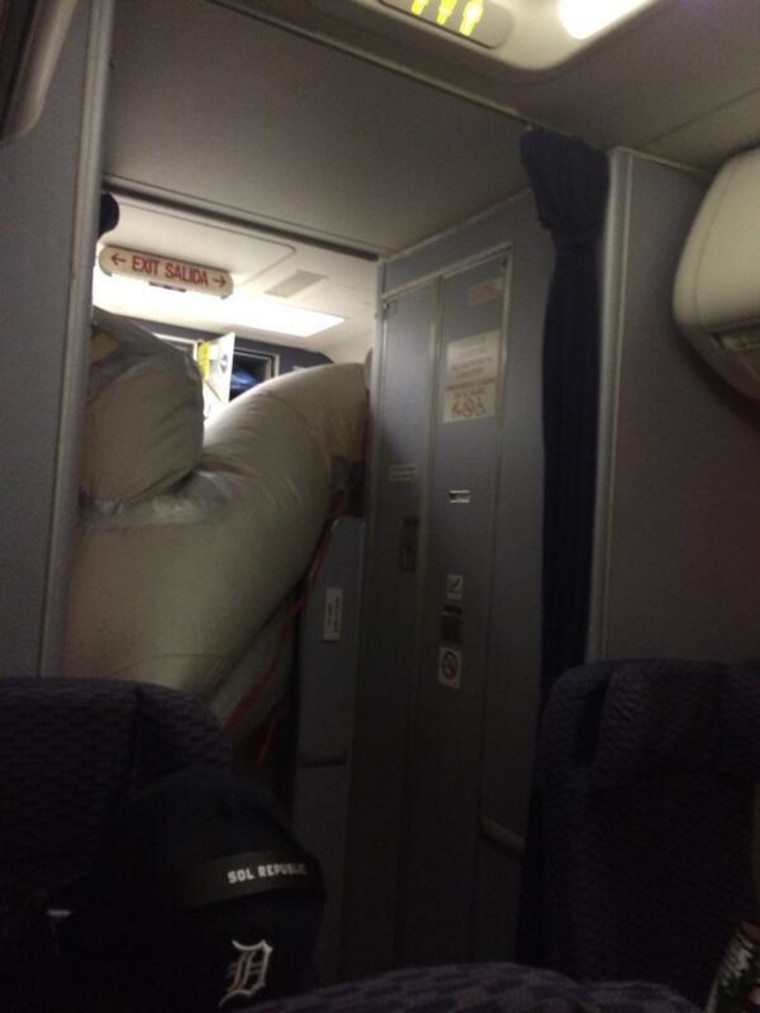 Image: Passenger Taylor Martinez posted a picture of the slide after it deployed accidentally mid-flight.