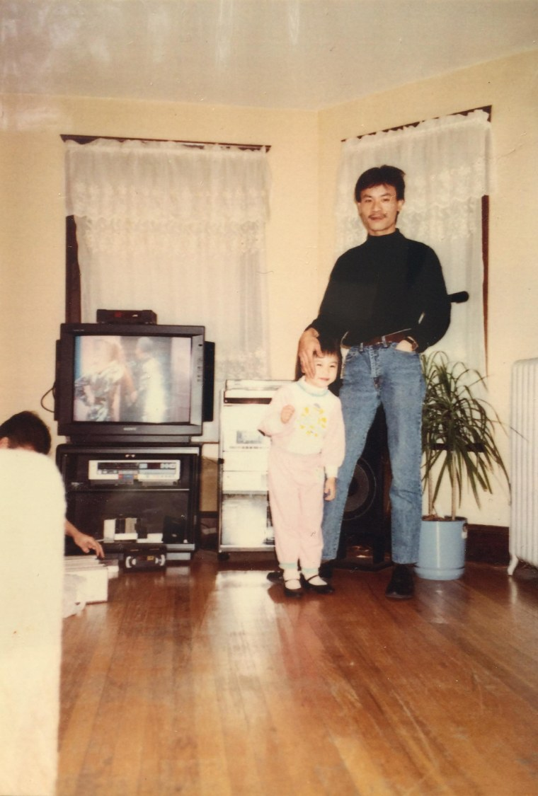 Sahra Vang Nguyen and her father in 1989.