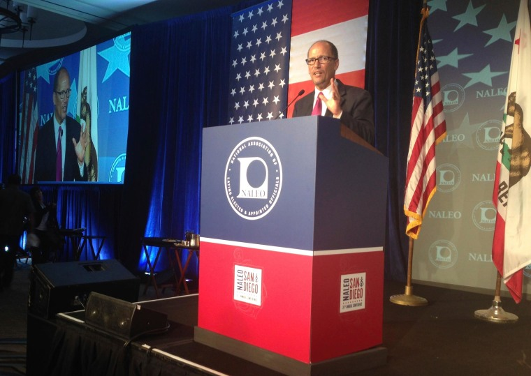 Labor Secretary Tom Perez speaks to the National Association of Latino Elected and Appointed Officials during its 2014 annual conference.