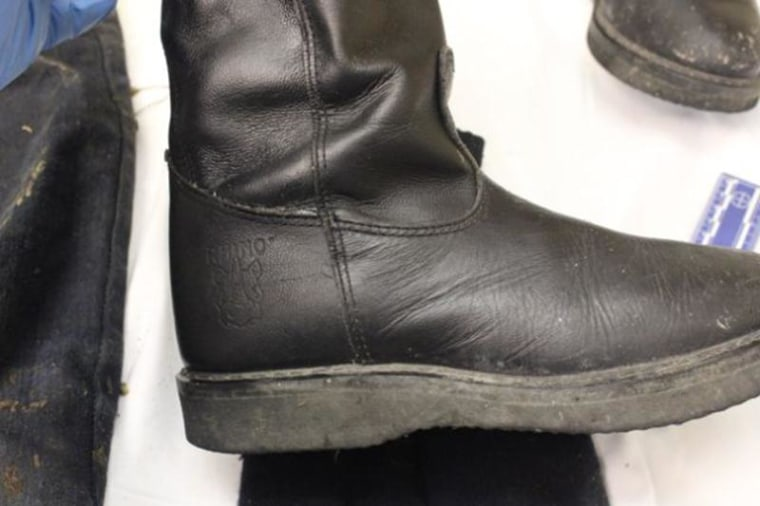 Photo of one of the leather boots found with the remains of a 11-year-old Gilberto Francisco Ramos Juarez whose body was found in brush in South Texas.