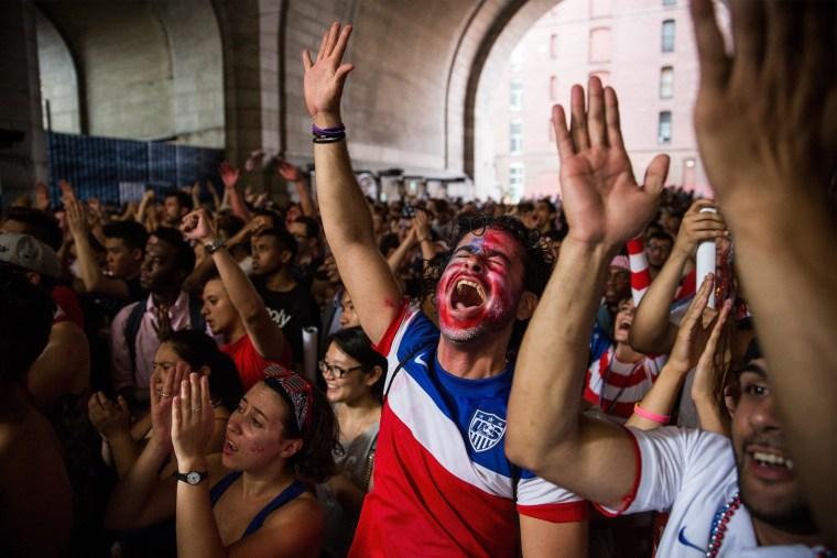 Image: Soccer fans watch U.S.-Belgium World Cup match
