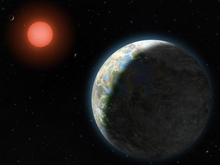 View of the possible inner planets of the Gliese 581 system along with their star, a red dwarf.
