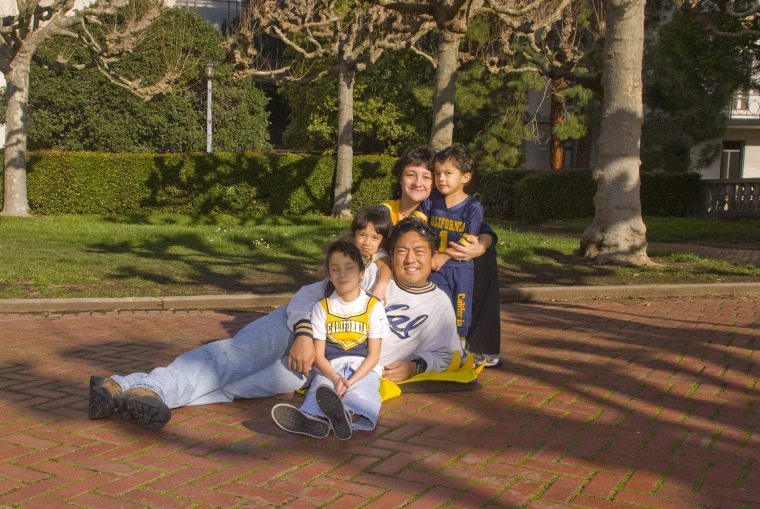 Image: A family photo on the Berkeley campus.
