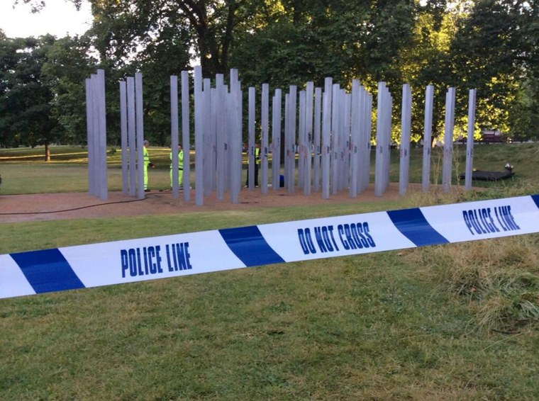 The 7/7 memorial in Hyde Park was vandalized on the 9th anniversary of the terrorist attack on London.