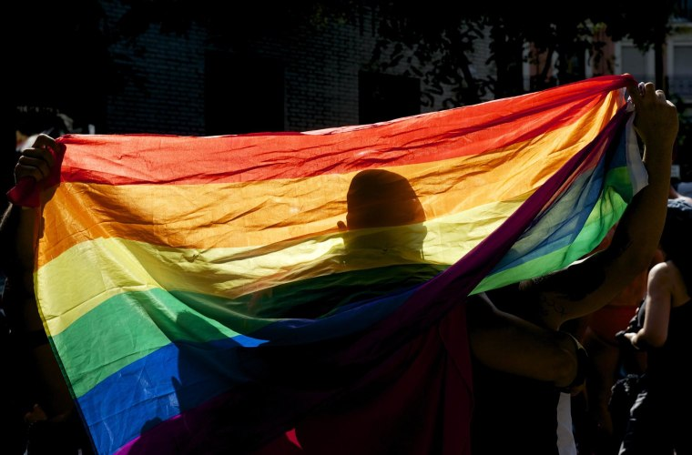 A reveler takes part in the Gay Pride Parade.