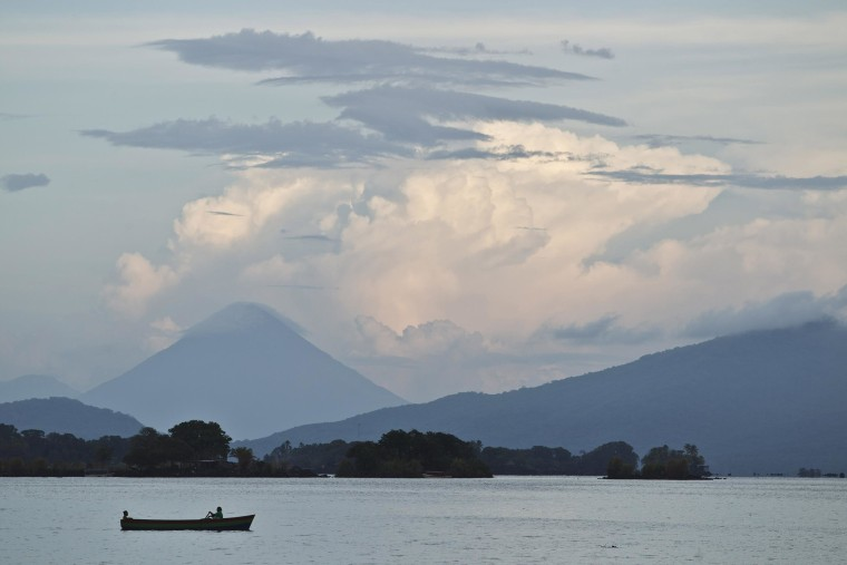 Image: A boater navigates across Cocibolca Lake, also known as Nicaragua Lake, near Granada, Nicaragua on June 7, 2013.