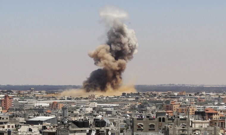 Smoke rises following an Israeli air strike in Rafah in the southern Gaza Strip on July 8.