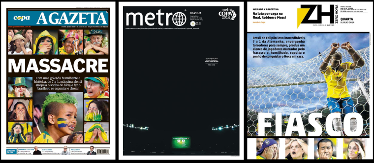 Image: The front pages of Brazil's A Gazeta, Metro Brasília, and Zero Hora.