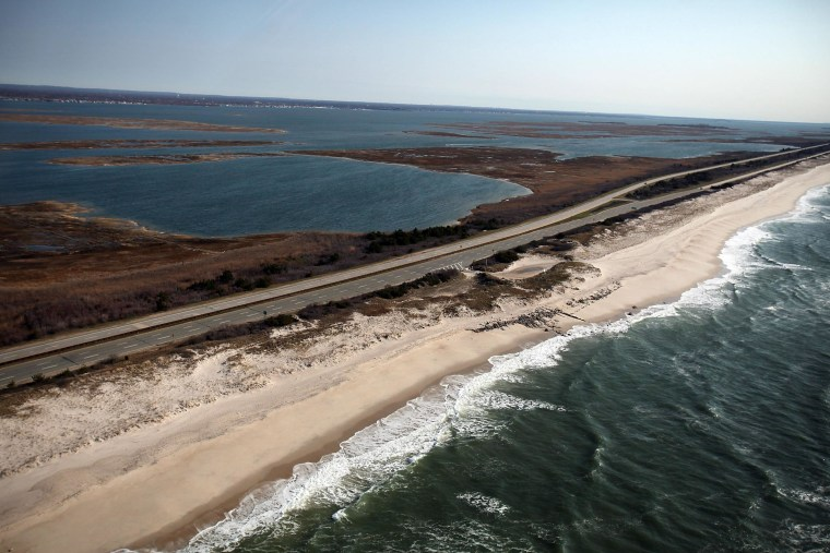 An aerial view of the area near Gilgo Beach and Ocean Parkway on Long Island where police found ten sets of human remains.
