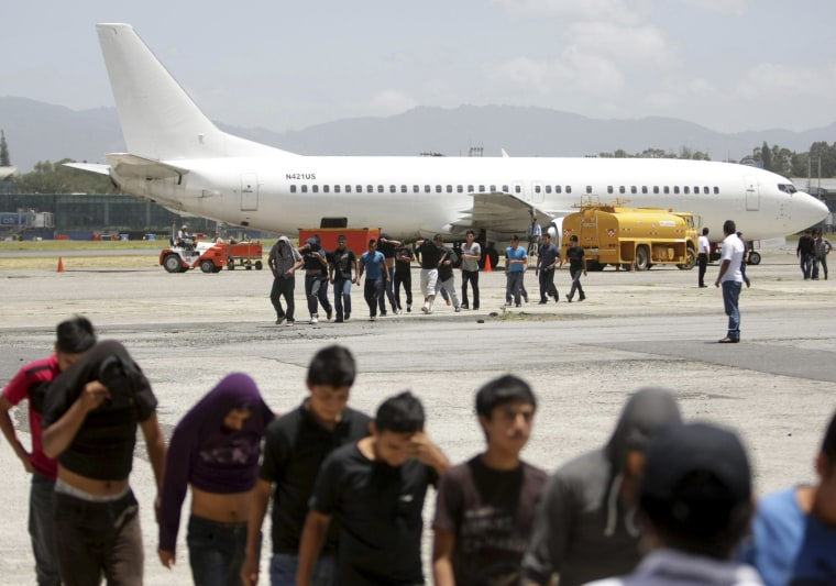 126 Guatemalan migrants who were deported from the U.S. arrive at La Aurora airport in Guatemala City, July 10, 2014.
