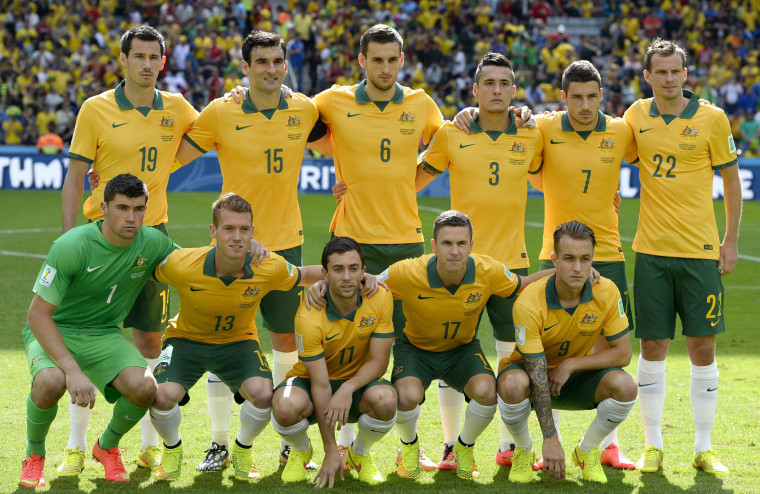 Image: The starting eleven of Australia prior to the FIFA World Cup 2014 group B preliminary round match between Australia and Spain
