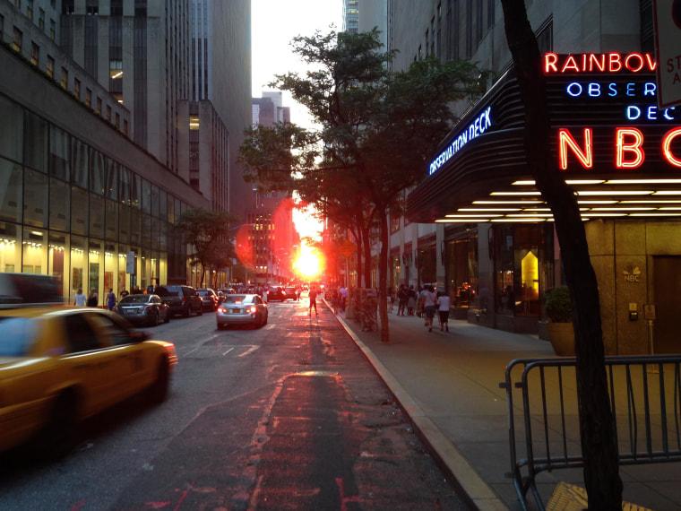 Images: The view of Manhattenhenge from outside 30 Rockefeller Plaza