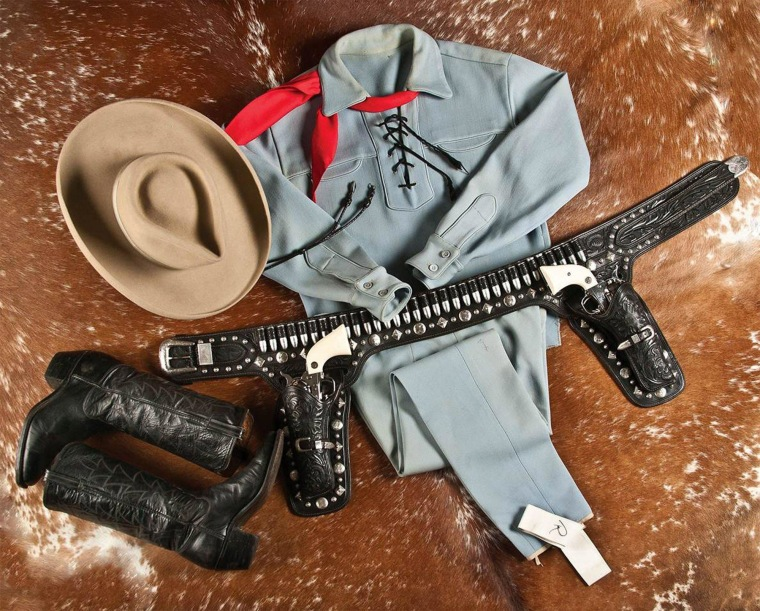 A photo provided by A & S Auction Company of Waco, Texas shows the outfit that Lone Ranger actor Clayton Moore wore when he made appearances as the character after retiring from television.