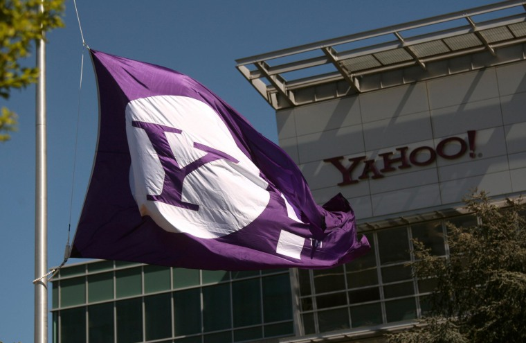 Image: The Yahoo logo is shown at the company's headquarters in Sunnyvale, California